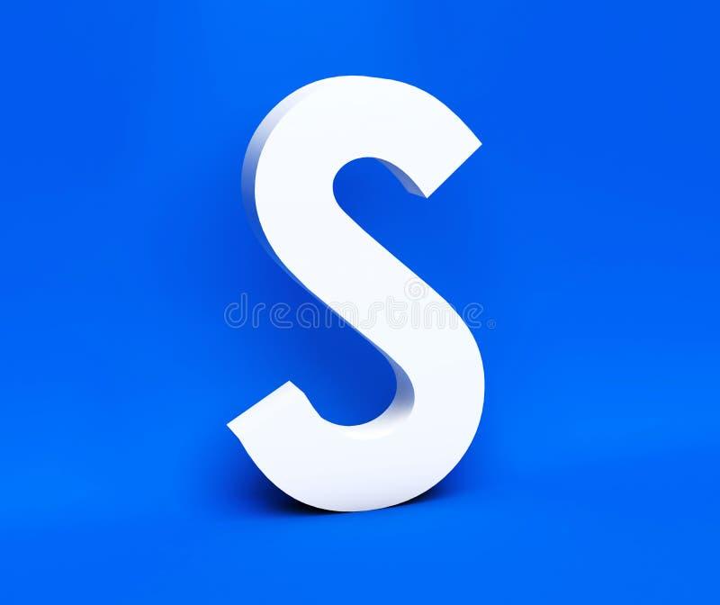 Symbole blanc S sur un fond bleu 3d rendent illustration stock