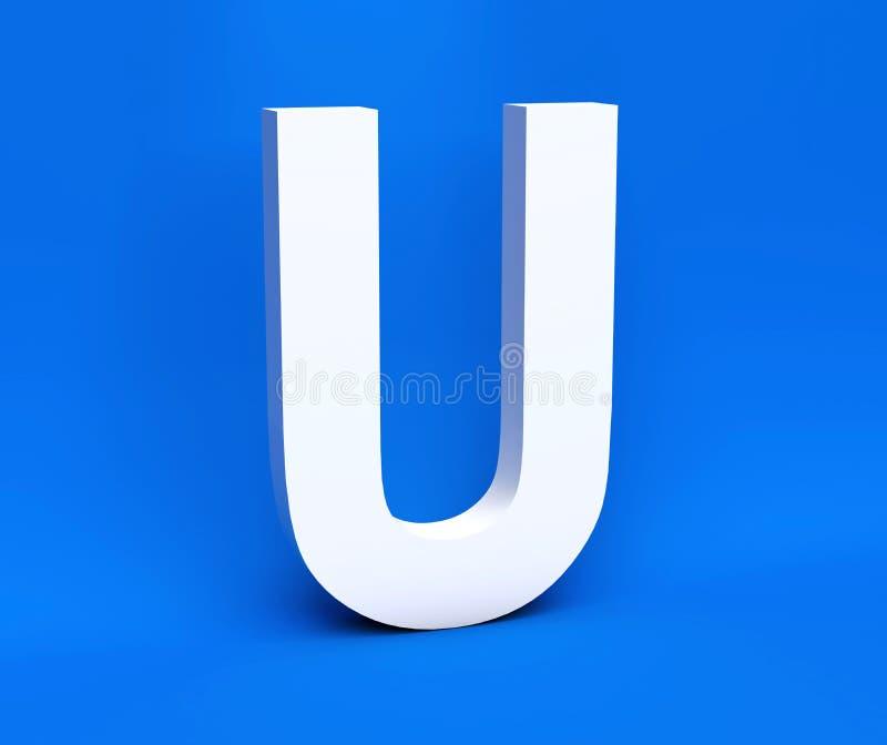 Symbole blanc U sur un fond bleu 3d rendent illustration de vecteur