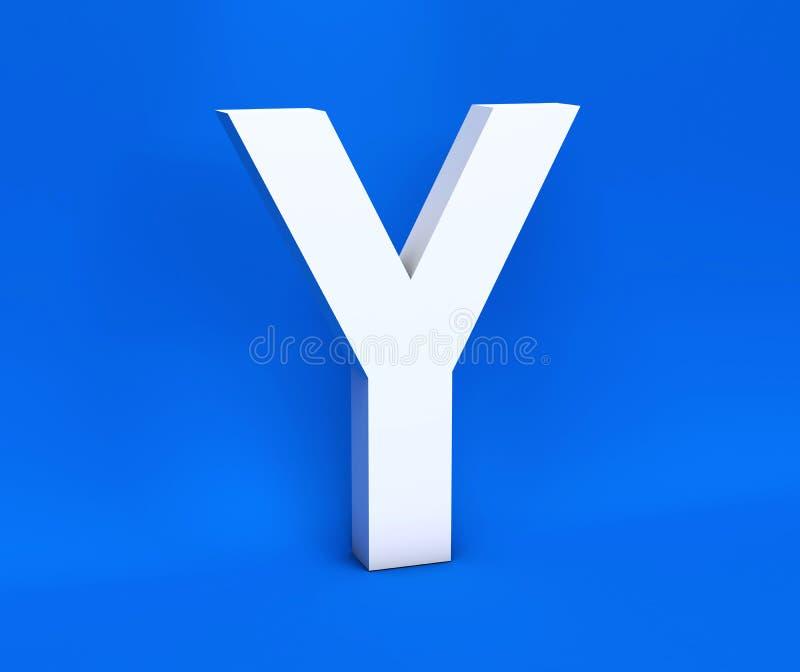 Symbole blanc Y sur un fond bleu 3d rendent illustration stock
