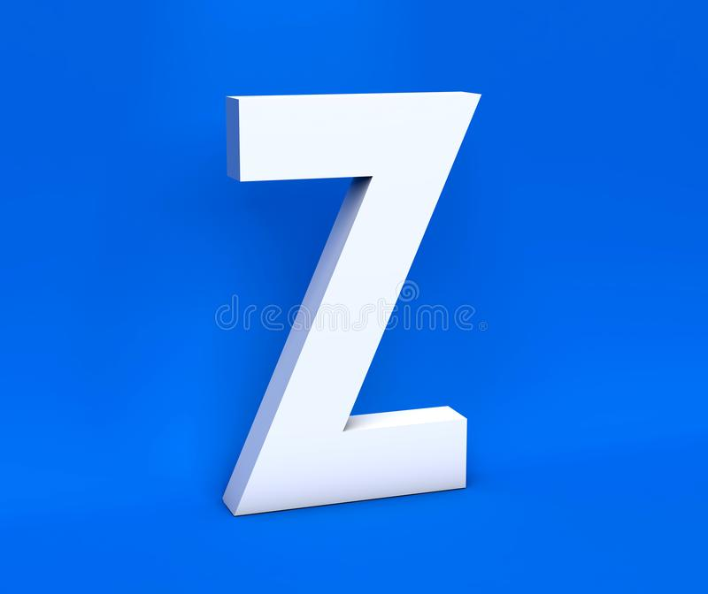 Symbole blanc Z sur un fond bleu 3d rendent illustration de vecteur