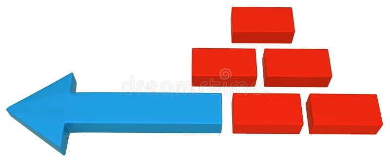 Symbole bleu de brique de flèche illustration de vecteur