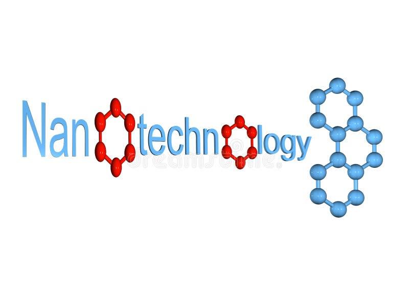 Symbole bleu de nanotechnologie avec la molécule d'isolement illustration libre de droits