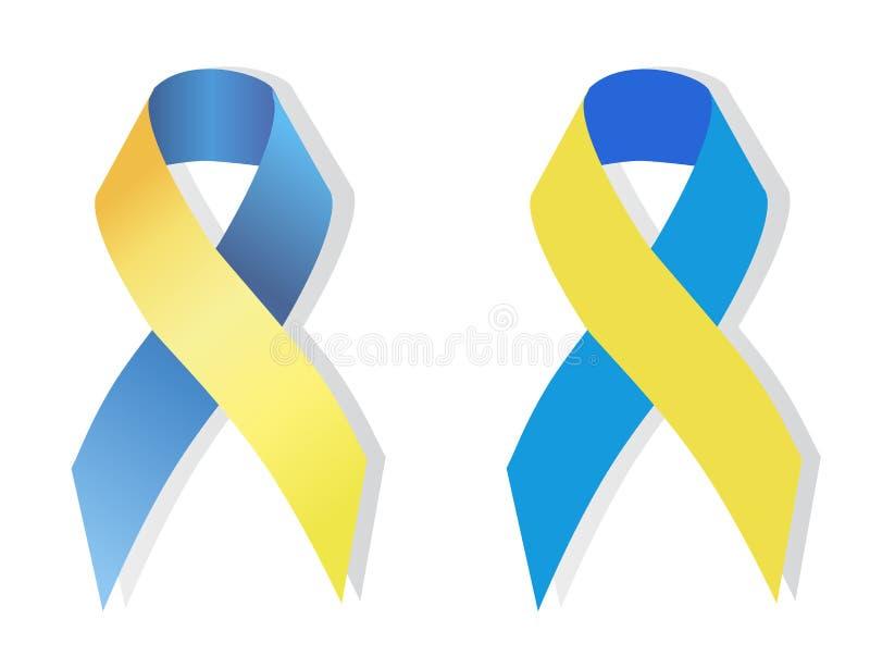 Symbole bleu et jaune de ruban des personnes avec la trisomie 21 illustration libre de droits