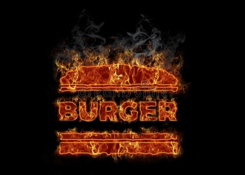 Symbole brûlant chaud d'hamburger illustration stock