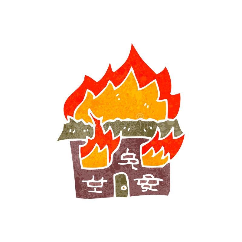 symbole brûlant de maison de rétro bande dessinée illustration de vecteur