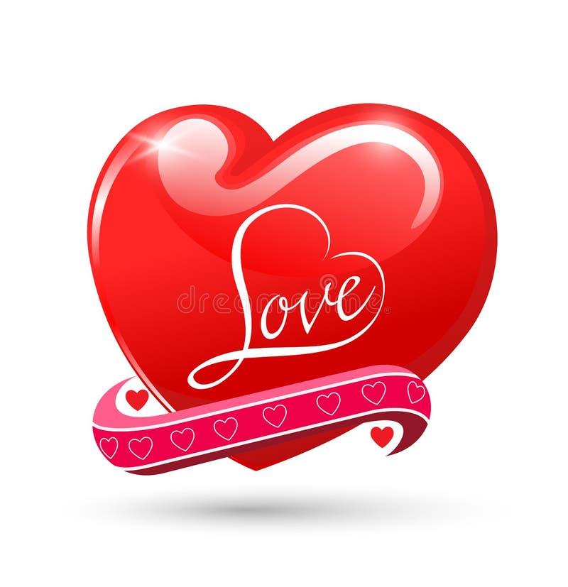 Symbole brillant rouge d'amour de coeur illustration libre de droits