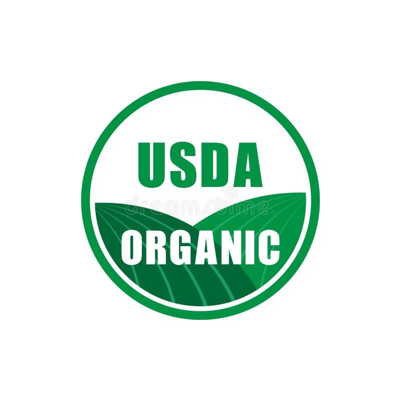 Symbole certifié organique de timbre de l'USDA aucune icône de vecteur d'OGM illustration de vecteur