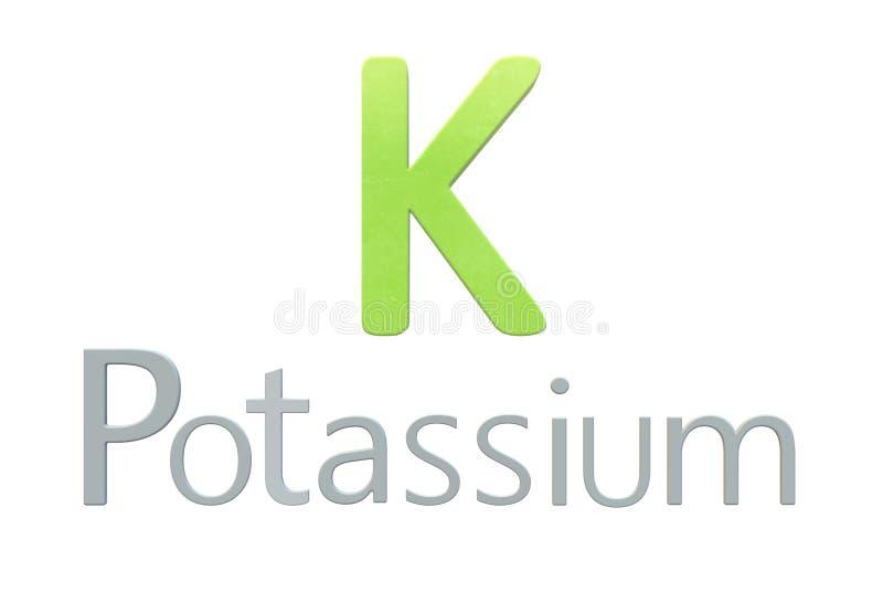 Symbole chimique de potassium comme dans la table périodique illustration libre de droits