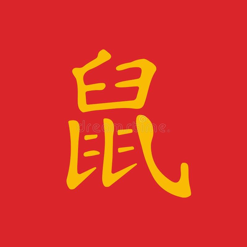 Symbole chinois de nouvelle ann?e Calligraphie d'hiéroglyphes illustration libre de droits