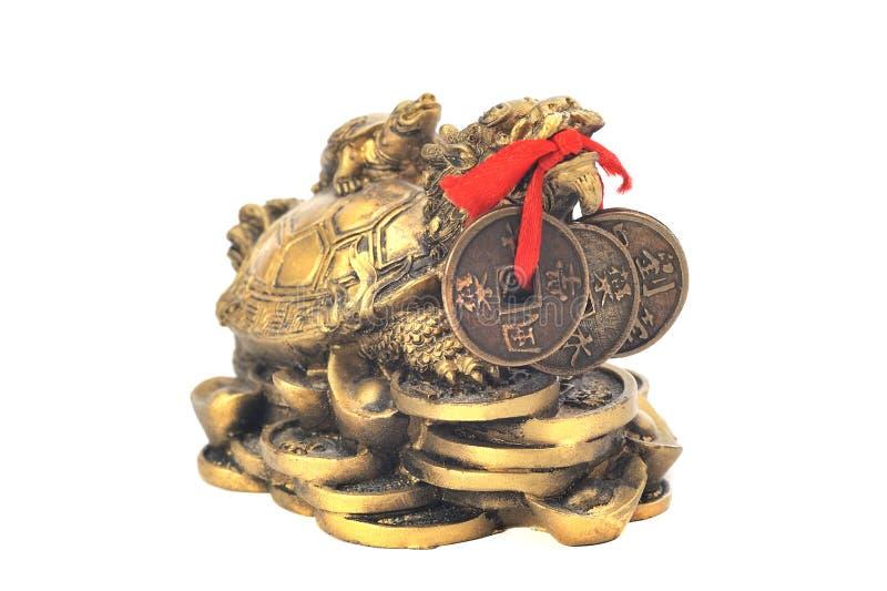 Symbole chinois de tortue de dragon d'argent sur un fond blanc photographie stock