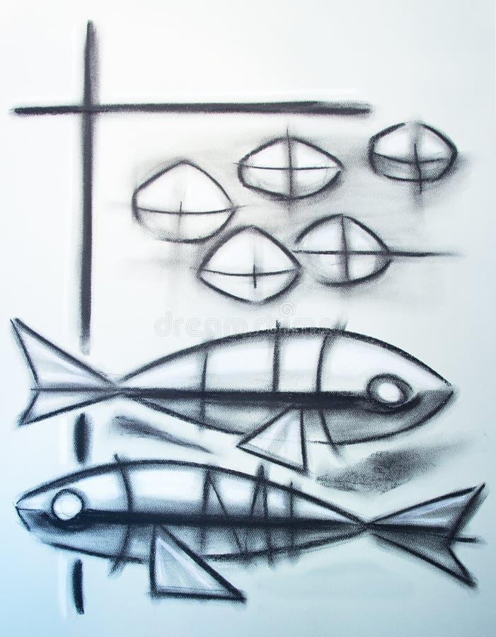 Symbole chrétien de deux poissons et de cinq pains illustration stock