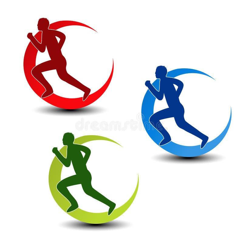 Symbole circulaire de forme physique - silhouette de coureur illustration de vecteur