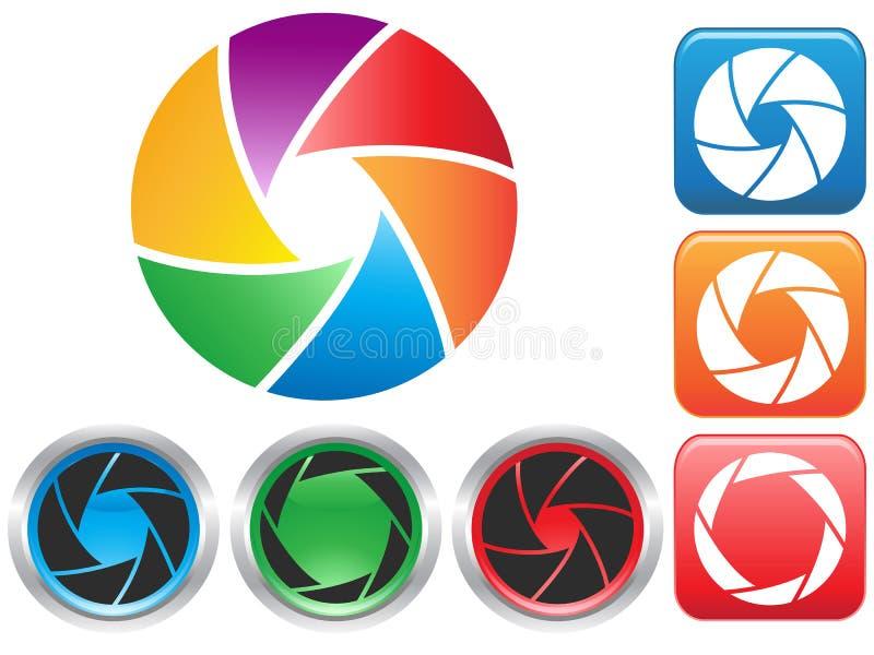 Symbole coloré d'ouverture d'obturateur de caméra illustration libre de droits