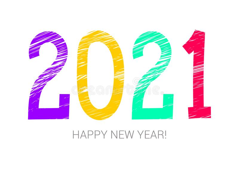 symbole coloré de 2021 ans An neuf heureux Bannière, carte Pourpre, jaune, vert et rouge Carte de voeux, affiche Craie ou crayon illustration de vecteur