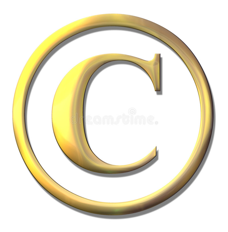 Symbole conique d'or de copyright illustration stock