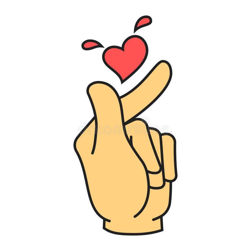 Symbole coréen de geste de main de coeur de vecteur illustration de vecteur