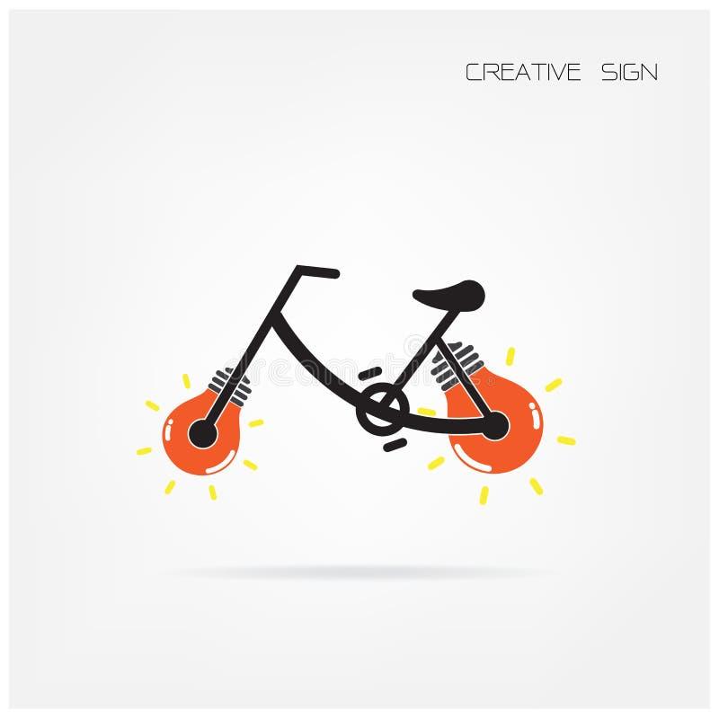 Symbole créatif d'ampoule et de bicyclette illustration de vecteur