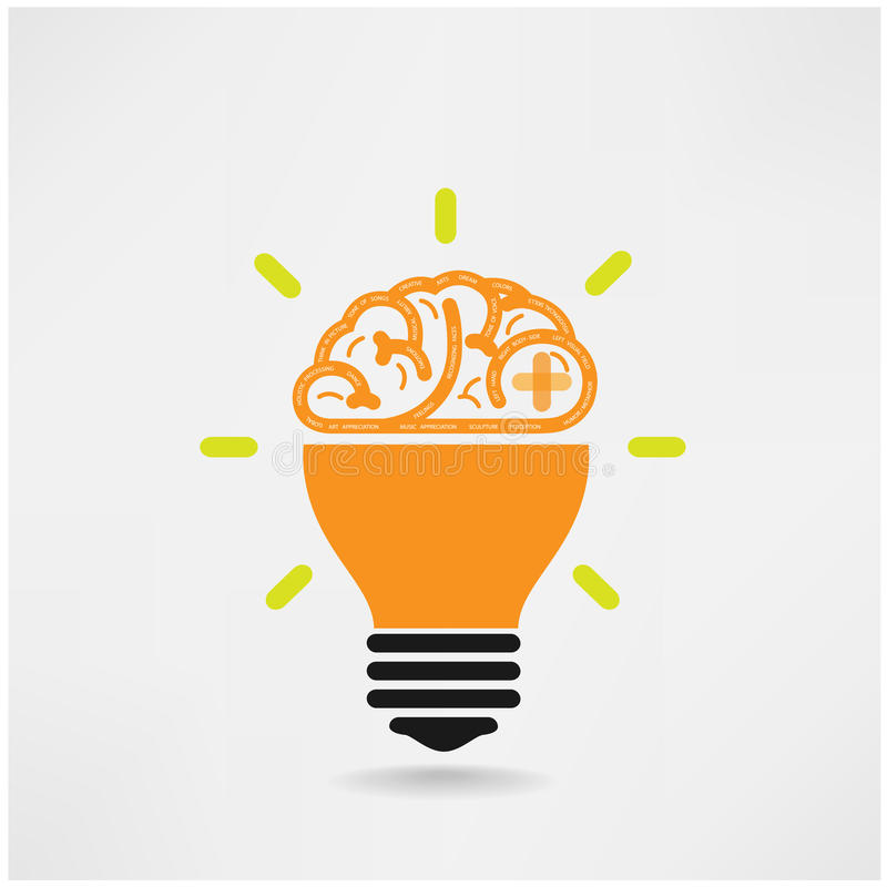Symbole créatif de cerveau, signe de créativité, sym d'affaires illustration libre de droits