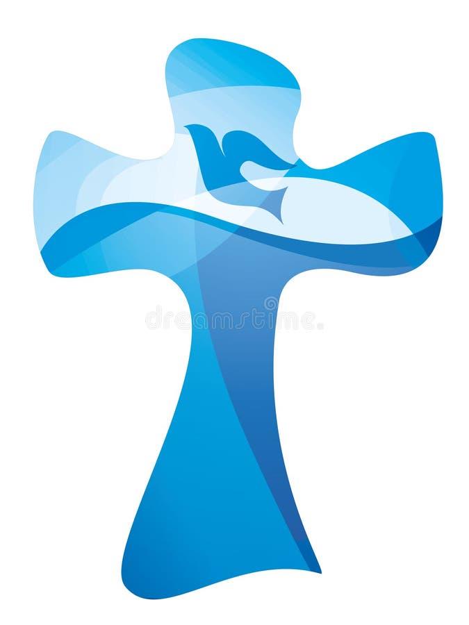 Symbole croisé chrétien de baptême avec des vagues de colombe et d'eau Exposition multiple illustration stock