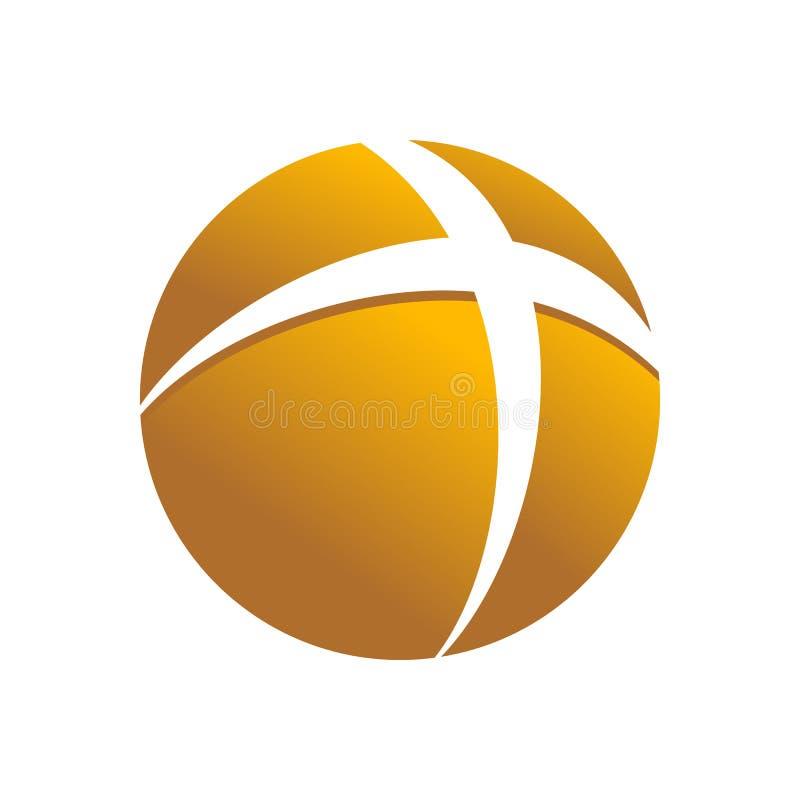 Symbole croisé circulaire d'or Logo Design de globe illustration de vecteur