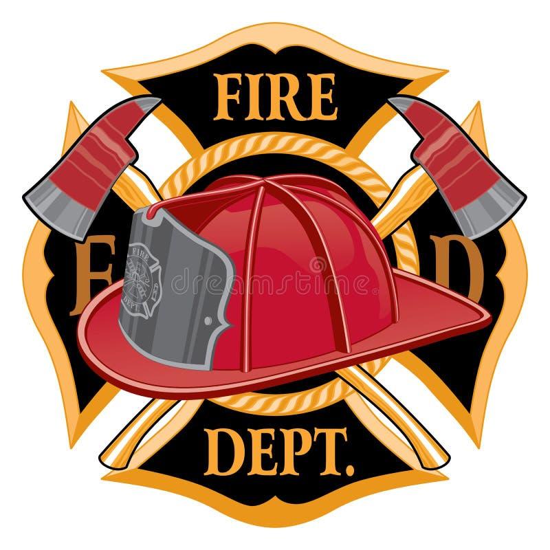 Symbole croisé de corps de sapeurs-pompiers illustration stock