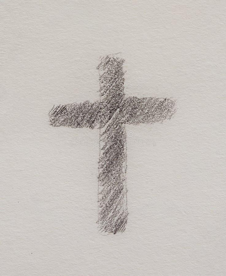 Symbole croisé simple, dessin au crayon sur le papier illustration libre de droits