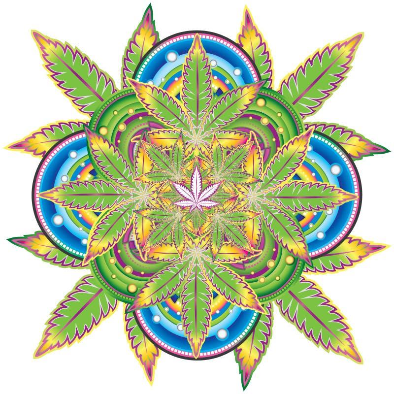 Symbole croissant de kaléidoscope de feuille de marijuana  illustration de vecteur