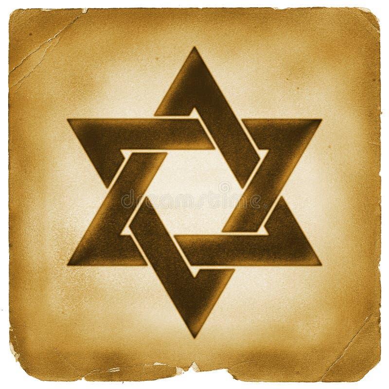 Symbole d'étoile de David sur le vieux papier illustration de vecteur