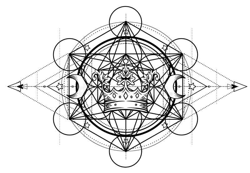 Symbole d'alchimie avec la couronne royale La géométrie sacrée, conception de vintage Conception de chair de tatouage, logo de yo illustration de vecteur