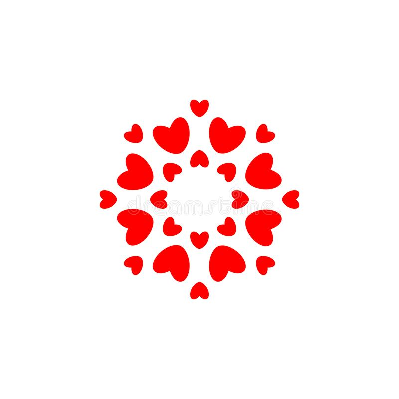 Symbole d'amour Coeurs rouges en cercle, calibre simple de logo de rond d'élégance conception de l'avant-projet pour épouser et S illustration libre de droits