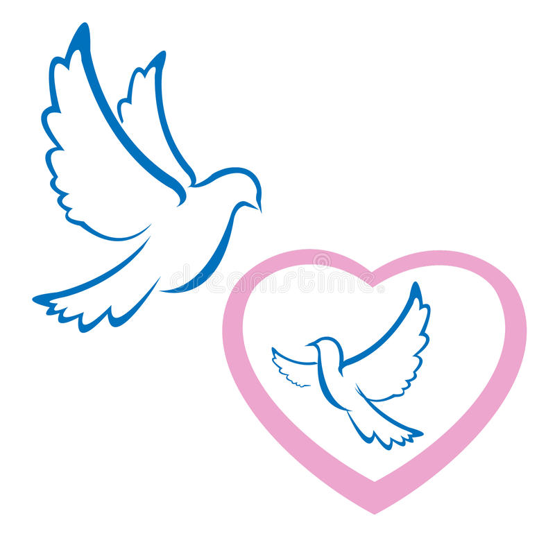 Symbole d'amour de colombe photographie stock