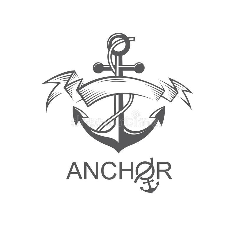 Symbole d'ancre avec le ruban illustration stock