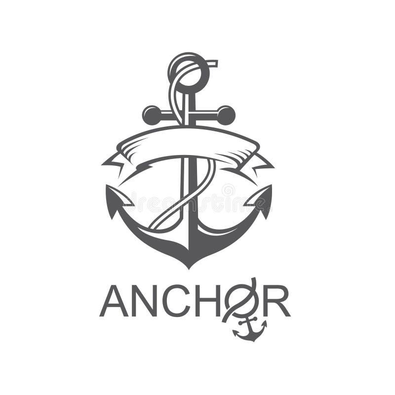 Symbole d'ancre avec le ruban illustration de vecteur