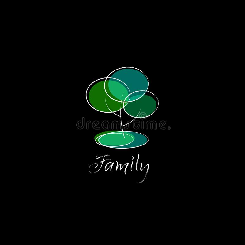 Symbole d'arbre généalogique Logo abstrait géométrique d'arbre Formes et dessin au trait transparents illustration libre de droits