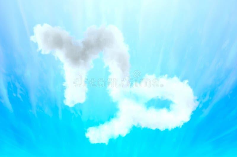 Symbole d'astrologie en matériel de nuage - Capricorne images libres de droits