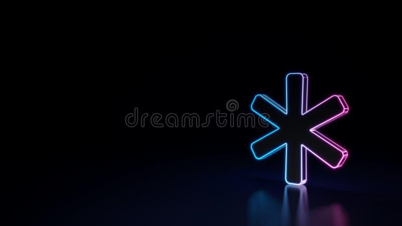 symbole 3d au néon rougeoyant du symbole de l'astérisque d'isolement sur le fond noir illustration libre de droits
