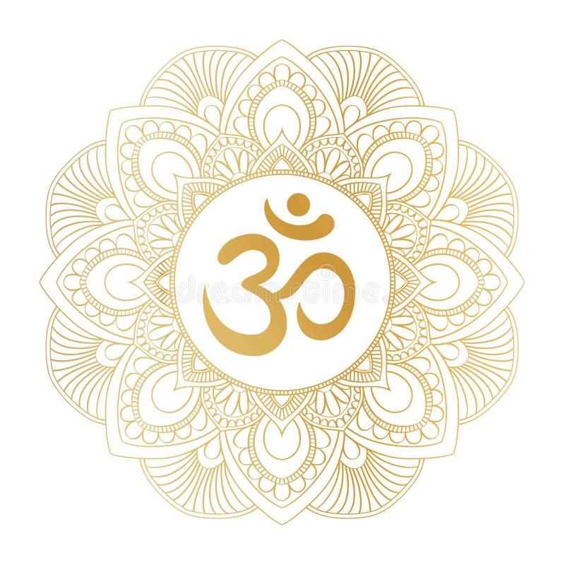 Symbole d'or d'ohm d'Aum OM en ornement rond décoratif de mandala photo stock