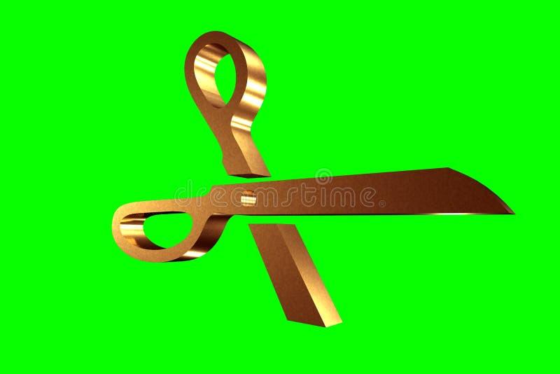 Symbole d'or de ciseaux, modèle 3D, illustration de vecteur