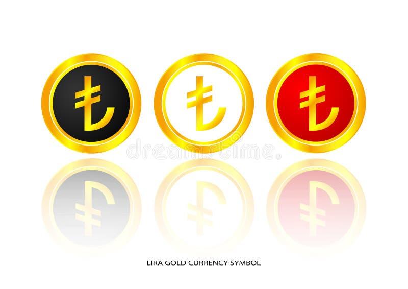 Symbole d'or de Lire illustration stock