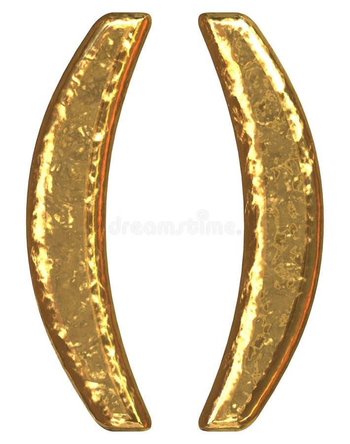 symbole d'or de parenthèse de fonte illustration de vecteur