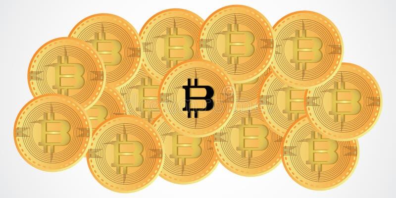 Symbole d'or de pièce de monnaie de fond de devise de Bitcoin Digital avec l'illustration de vecteur de style de conception illustration de vecteur
