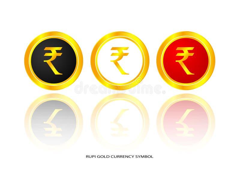Symbole d'or de Rupie illustration stock