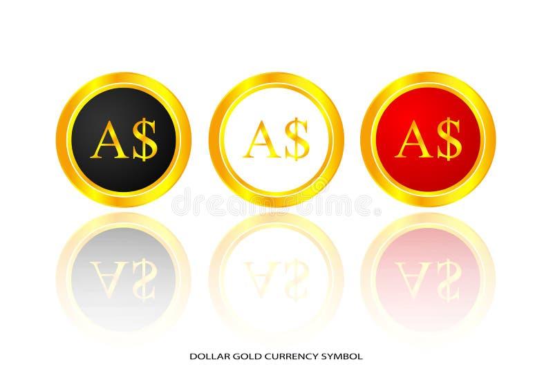 Symbole d'or du dollar illustration de vecteur