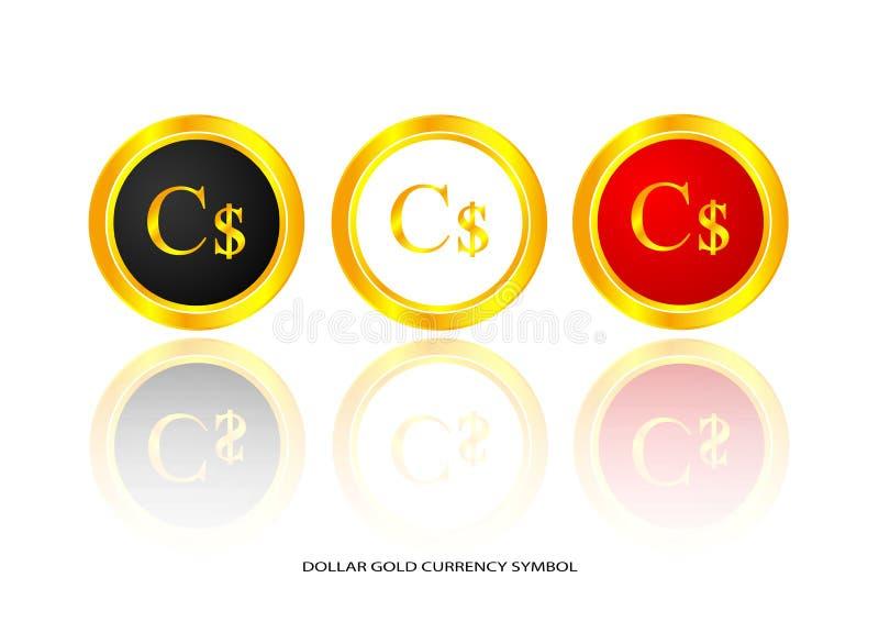 Symbole d'or du dollar illustration stock