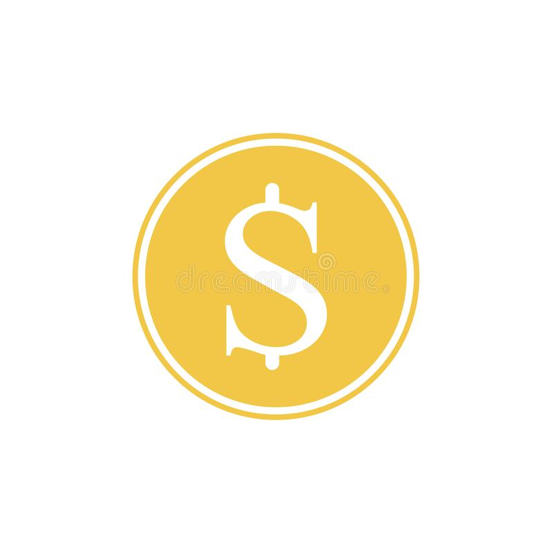 Symbole d'or du dollar Illustration de vecteur Symbole d'or du dollar d'isolement sur le fond blanc illustration stock