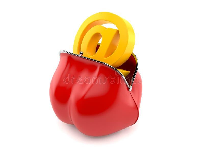 Symbole d'email à l'intérieur de bourse rouge illustration stock
