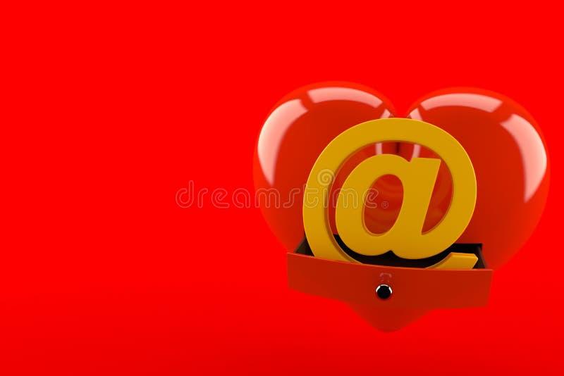 Symbole d'email à l'intérieur de coeur illustration stock