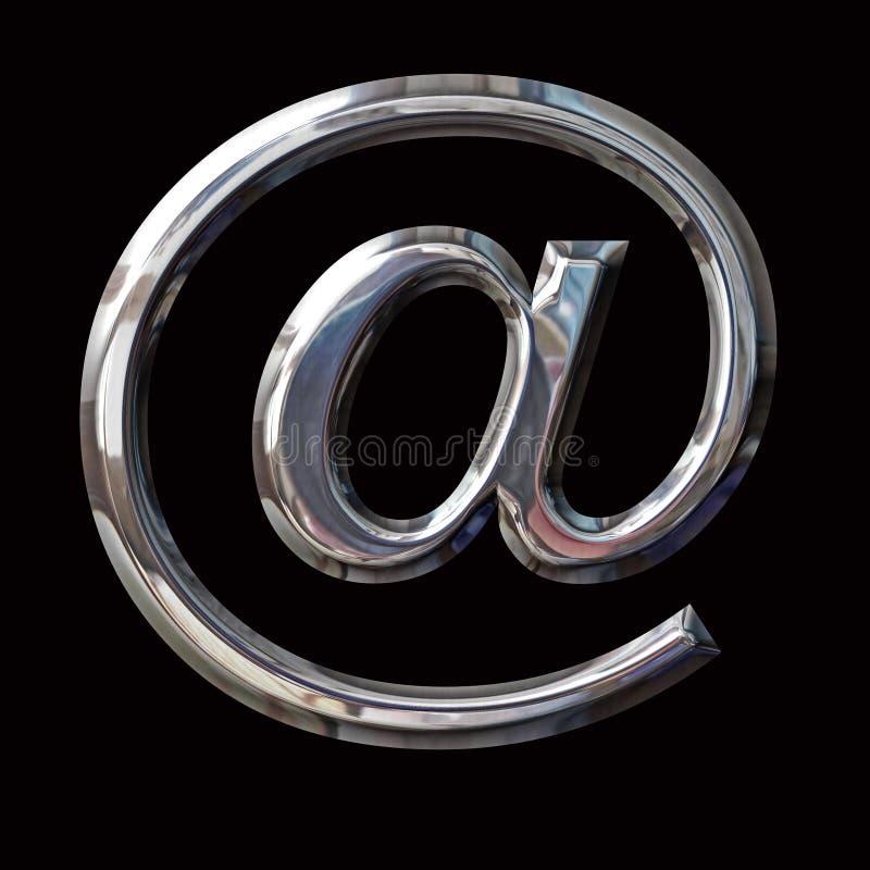 Symbole d'email de Chrome avec des chemins photo libre de droits