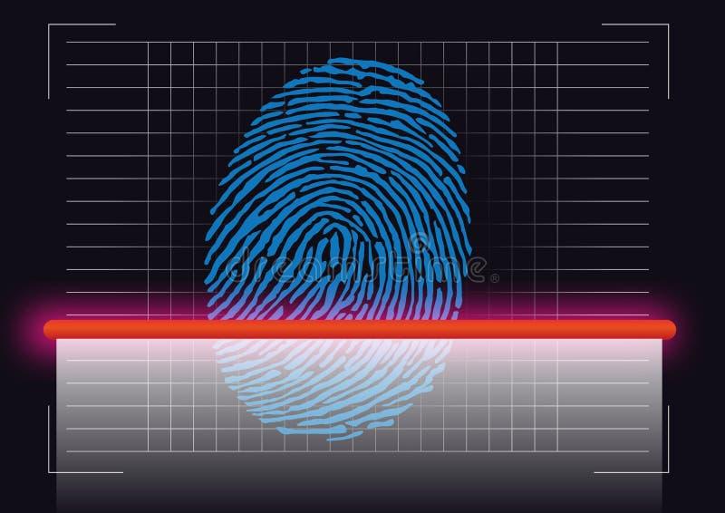 Symbole d'empreinte digitale pris d'une scène du crime qui est balayée pour identifier le soupçon illustration libre de droits