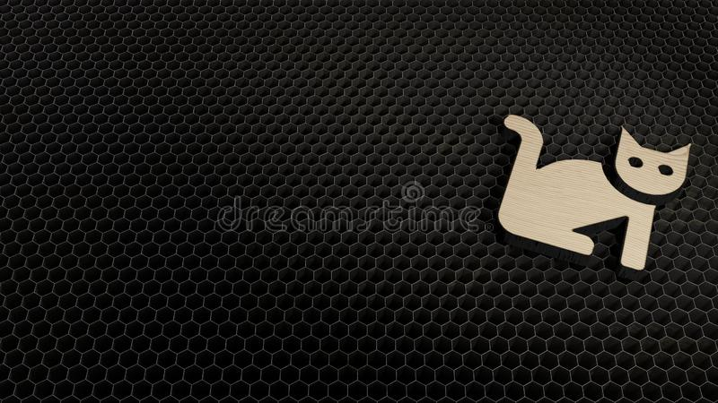 symbole 3d en bois d'ic?ne de chat rendre illustration stock